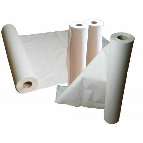 Rollo papel camilla, precorte 0,58x70 m. blanco