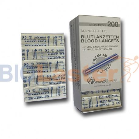 Pack de 200 Lancettes l'Acier Inoxydable Premium